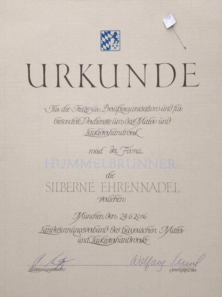 Urkunde - silberne Ehrennadel